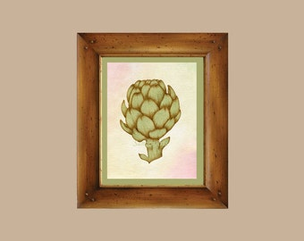 Artichoke Watercolor 8x10 Art Print - on Fine Art Paper - Giclee