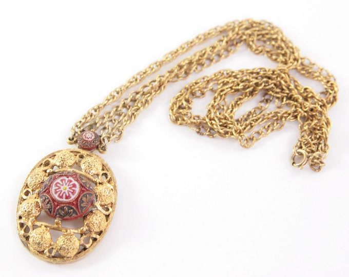 Vintage Victorian Necklace Art Deco Necklace Designer Retro Mad Man Celebrity NY Cameo 1970s Costume Jewelry Golden Red Large Pendant USA