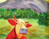 Rodeo Bull Red Bull Original Watercolor Painting, Cow Art, Western Art Watercolour Home Decor Ranch Watercolor Painting