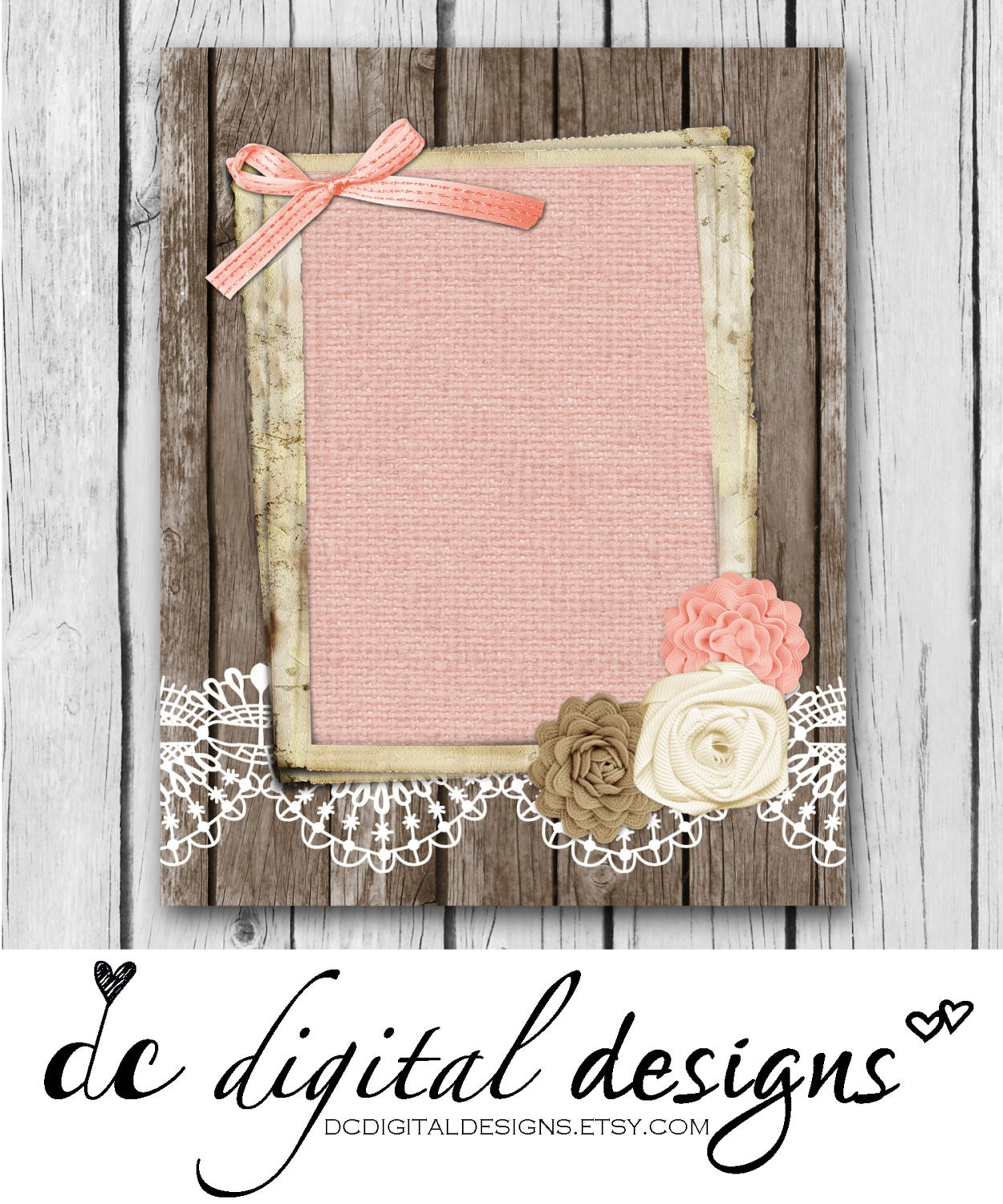 Girly Rustic Chic Bedroom: 8x10 Blank Rustic Girly Flowers Wood Shabby Chic Pink