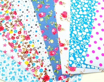 Set of 8 self adhesive fabric sheets