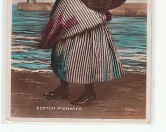 C1920 Scotch Fishwife, Carrying Large Woven Back /Postcard