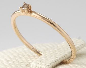 14K Gold Thin Diamond  Engagement Ring ,Engagement Ring, Simple Diamond Ring, Wedding Band, Stacking Ring, Champagne Cognac Diamond Ring