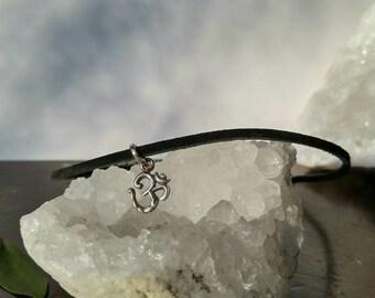Ohm Pendant Necklace // Yoga Black Leather Choker // Bohemian Choker Necklace
