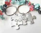 Personalized Couple Keychains, Gift for Girlfriend, Gift for Wife, Gift for her, Long Distance Relationship Gift, Couple Initials Keychains