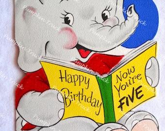 Vintage Birthday Card - 1950s Elephant 5 Years Old - Used