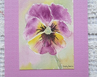 Pansy Watercolor Card Pink Yellow Pansy Original Art Card Hand Painted Handmade Original Painting Note Card Blank Card SallysWatercolors