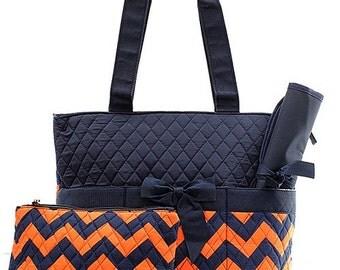 Chevron Print Monogrammed Diaper Bag Navy Blue and Orange