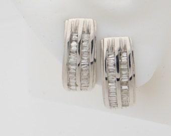 0.75 Carat T.W. Ladies Baguette Cut Diamond Earrings 14K White