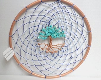 Tree of Life Dream Catcher with Turquoise Gemstone Leaves Re-purposed Copper Wire & Copper Pipe Reiki Healing Home Decor