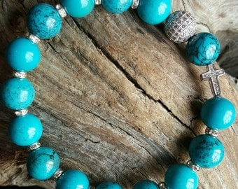 Turquoise Beaded Stretch Bracelet with Micro Pave Beads *FREE SHIPPING*