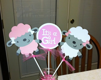Lamb Its a girl centerpiece, lamb baby shower,lamb centerpiece, Its a girl centerpiece, its a girl decorations