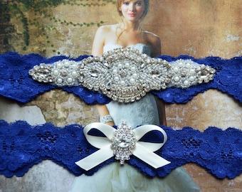 Wedding Garter,Bridal Garter, Wedding Garter Set, Royal Blue Lace Wedding Garter, Rhinestone Crystal Applique Garter, Catherine Style 10822