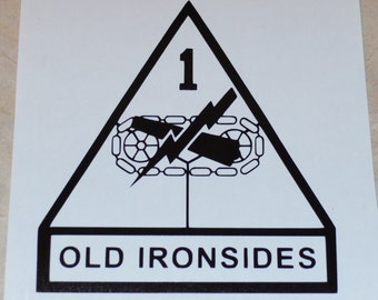 """1st Armored Division """"Old Ironsides"""" Vinyl Decal"""
