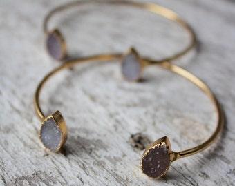 Double Druzy Teardrop Stone Cuff Bracelet