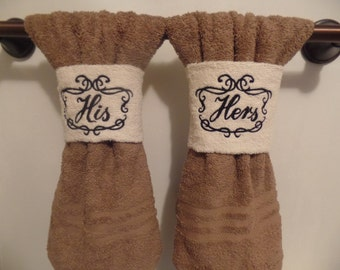 "4"" His Hers hand towel wrap, towel monogram, gift, hanging towels"