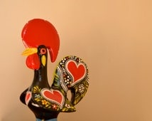 Big Portuguese Rooster sizes L and XL. Good Luck Rooster (25cm-9.8in and 30cm-11.8in). Traditional pattern, totally handpainted.