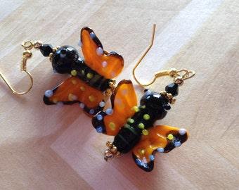 Lampwork Butterfly Earrings, Butterfly Earrings, Gifts For Her, Earrings
