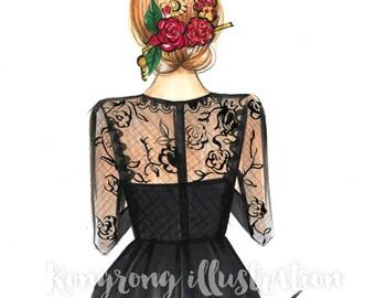 Dolce & Gabbana Fashion print, Fashion illustration, Fashion art, Fashion sketch, Fashion wall art, Dessing room art Titled Rome Romance