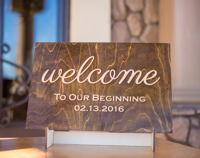 Welcome Sign, Rustic Wedding Wooden Entrance Sign, Reception Signage, Welcome Bride Groom Names & Date, Wedding Decor, Ceremony Sign