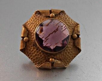 Victorian Amethyst Brooch, Art & Crafts Hammered Brass Glass Sash Pin