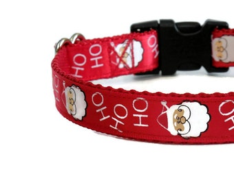 "Christmas Santa Claus Red & White ""Ho Ho Ho"" Dog Collar (Buckle or Chain Martingale)"