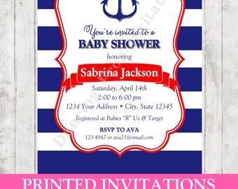 Custom PRINTED Nautical Baby Shower Invitation - Printed Nautical Baby Shower Invitation by Dancing Frog Invitations