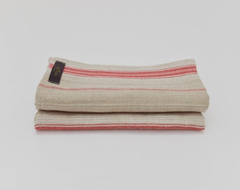 Red Stripe French Country Linen Napkin -  Set of 2