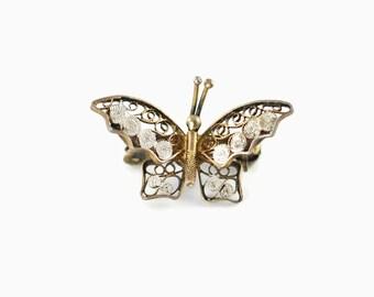Vintage 800 Silver Filigree Butterfly Pin Brooch