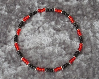 Black & Red Seed Bead Stretch Anklet