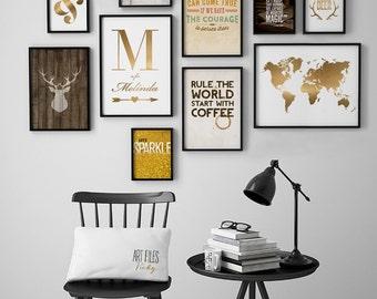 Wall art Prints, Multi Print Discount, Set of 10 Prints Offer, Discount prints, Wall Gallery, Earth Tones, Home Decor Proposal ArtFilesVicky