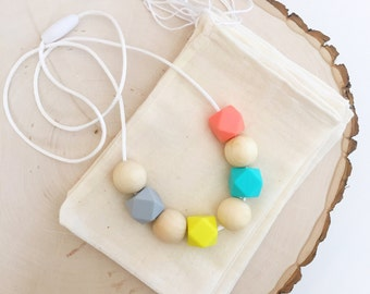 Nursing Necklace, Teething Necklace, Mommy Necklace ,Silicone Chew Bead Necklace. -Myla