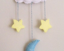 Moon and Stars Baby Mobile, Window Hanging, Moon Nursery, Felt Stars, Baby Decorations
