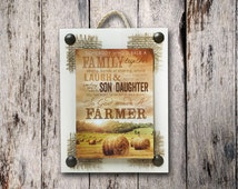 God made a FARMER Wall SIGN, Farmhouse Decor Reclaimed God looked down on His paradise, Farm House Family Son Daughter field bale Home white