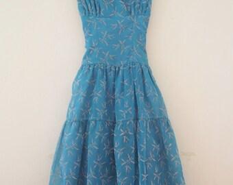 Stunning 1950s Periwinkle Blue Dress
