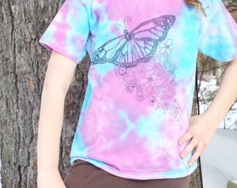Custom Girls Butterfly Shirt, Butterfly Tshirt, Zentangle Butterfly Tie Dye Tshirt, Butterfly Birthday, Nature Kids, Original Art Shirt