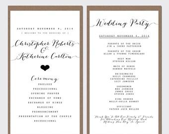 Wedding Program - Order Of Service - Printable Wedding - Rustic Wedding - Printable Program - 103