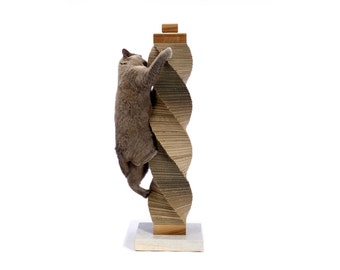 Tall CARDBOARD Cat Scratcher | recycled cardboard, walnut & stone structure | by Charley and Billie