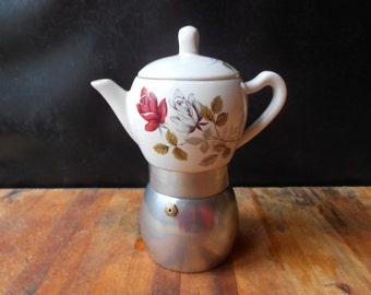 Vintage stovetop coffe maker/Espresso maker/Italian coffe maker/Vintage coffe maker/Porcelain coffe maker