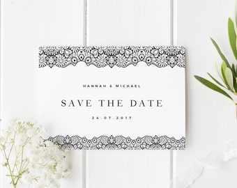 Lace Save The Date, Simple Wedding Invite, Simple Lace Save The Date Card, Modern Save The Date, Rustic Save Our Date, Simple Lace Invite