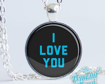 Star Wars jewelry, I Love You, I Know, Han Solo, Princess Leia, Quote, Empire Strikes Back, Frozen in Carbonite, You get BOTH pendants.