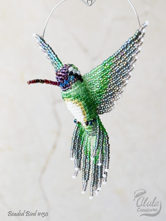 beaded bird suncatcher hummingbird ornament bird by