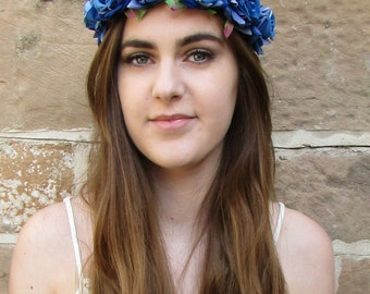 Blue Rose Flower Headband Garland Vintage Hair Crown Festival Boho Leaf Hair Band Headpiece Headdress Glastonbury Bridesmaid R96