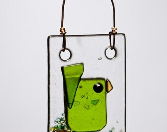 Fresh Green Bird Fused Glass Suncatcher