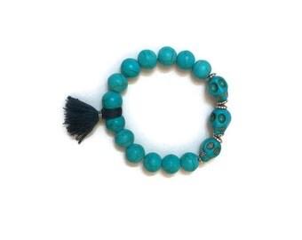 Turquoise Stretch Bracelet, Turquoise Bead Bracelet, Stretch Bead Bracelet, Beaded Tassel Bracelet, Beaded Stretch Bracelet, Skull Bracelet