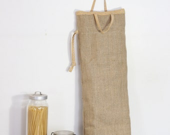 bread bag , jute sticks and iridescent yellow Japanese fabric hand made south of france