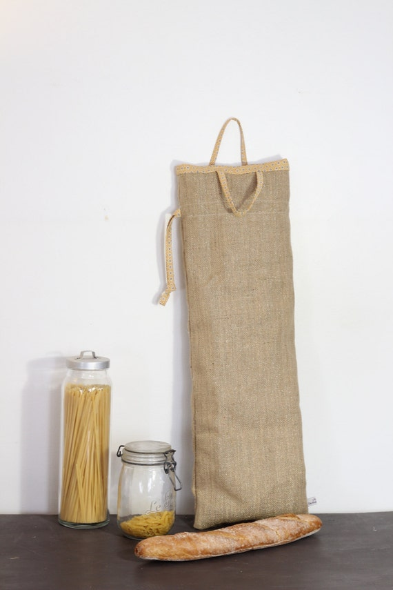 bread bag jute sticks and iridescent yellow japanese fabric. Black Bedroom Furniture Sets. Home Design Ideas