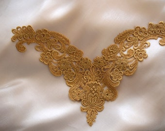 Beaumont's Luxurious Vintage Inspired Accentuating Gold Metallic Venise Lace Applique in Sharp V shape and Detailed Ground Work