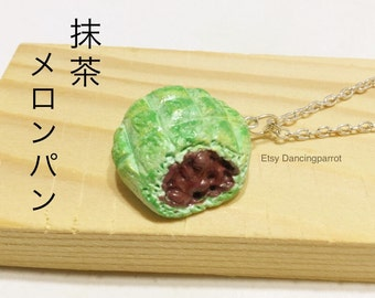 Japan green tea melon bread with red bean filling Dessert necklace Dessert jewelry Food necklace Fake food necklace Kawaii bread necklace