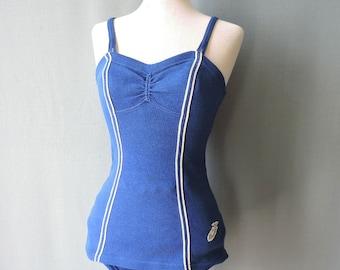 True vintage 50s swimsuit goldfish blue | Size S-M | Late 1950s bathing suit blue | Prelana